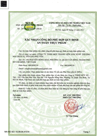 Giấy xác nhận công bố phù hợp quy định an toàn thực phẩm tổ yến sào